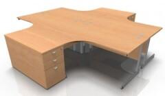Zestaw biurek narożnych z kontenerkami OS1 dla czterech osób